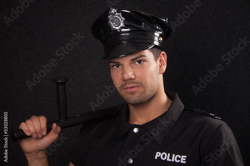Policeman with blackjack