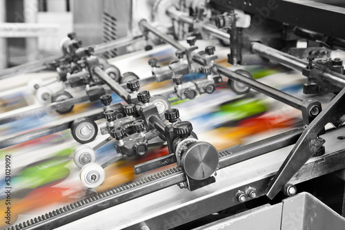 Leinwanddruck Bild Close up of an offset printing machine during production