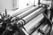 Close up of an old printing machine