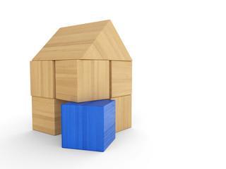 Haus aus Holz Bauklötzen - Blau