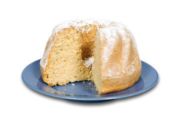 Cake with powdered sugar isolated with clipping path