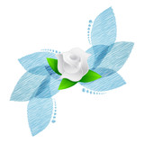 rose over blue leaves illustration design