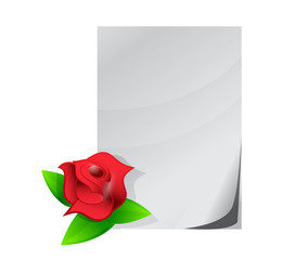 red rose love letter illustration design