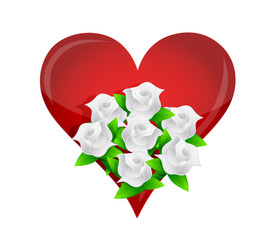 heart white flower wedding bouquet illustration