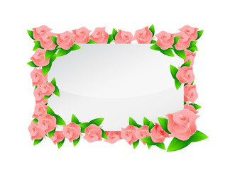 pink flowers frame illustration designs