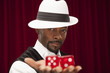 African American male in retro suit holding over size dice