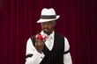 African American gambler wearing retro suit