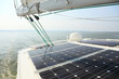 Leinwanddruck Bild - Solar Panels charging batteries aboard sail boat