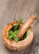 Mortar and pestle with fresh herbs
