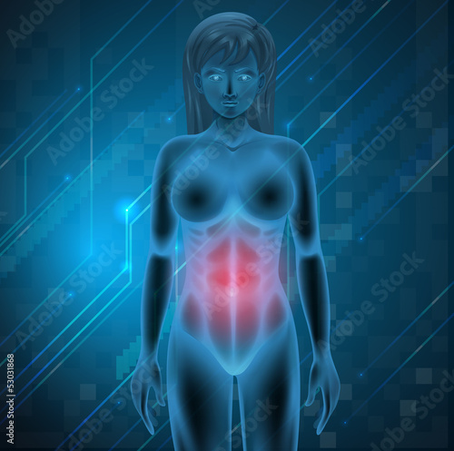 A woman experiencing pain in the stomach