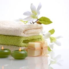 Wellness Grün Magnolie Seife Kerzen