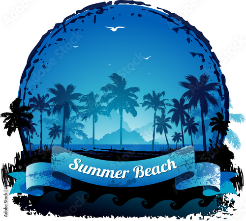 Beautiful blue tropical summer vacation background eps 10