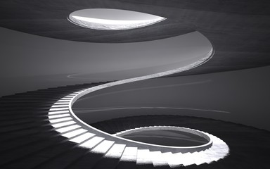 Abstract concrete spiral staircase
