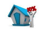 Real estate concept.  man holding 10 percentage in his hand