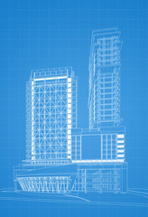 Blueprint of Modern building