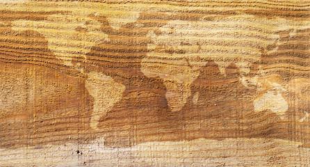 World map wood texture