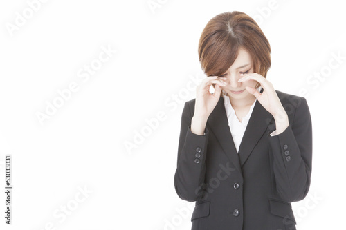 young business woman crying