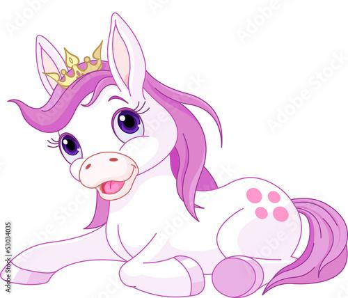 Poster Pony Cute horse princess resting