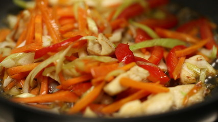 fry vegetables with chicken