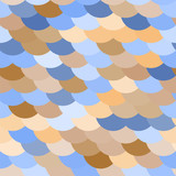 Colorful fish or snake scale seamless pattern in blue, brown