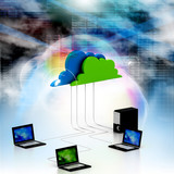 Digital illustration of Cloud computing devices.