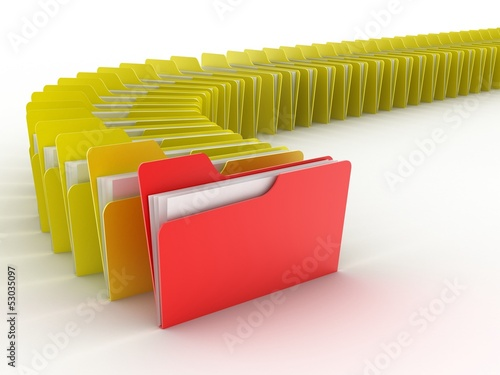 folders in rush 3d concept - many folders
