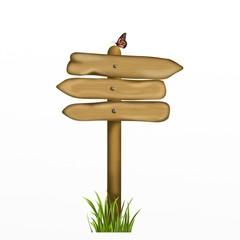 indicazioni in legno con farfalla