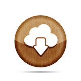 download from cloud wooden icon on a white background