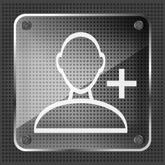 glass add friend icon on the striped background