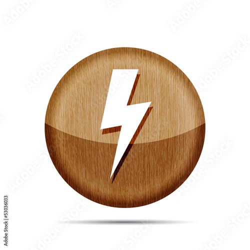 wooden lightning icon on a white background