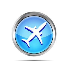 blue airplane icon on a white background
