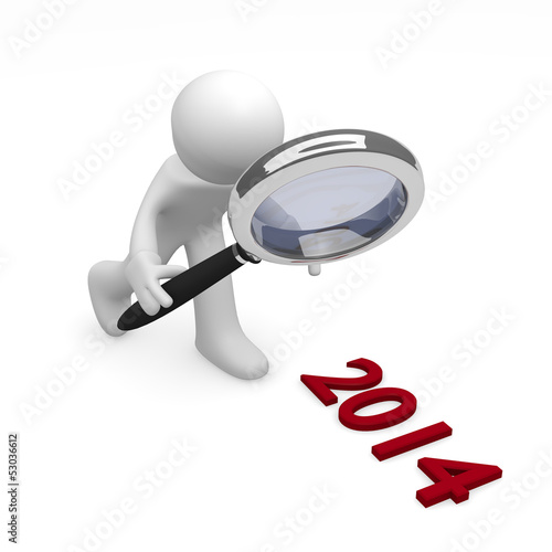 Man with magnifying glass and 2014 on background