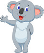Cute koala cartoon hand waving