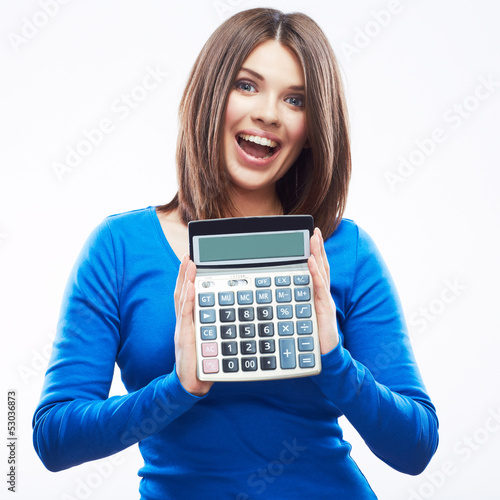 Young woman hold digital calculator. Female smiling model white