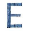 Jeans alphabet on white  letter E