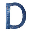 Jeans alphabet on white  letter D
