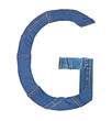 Jeans alphabet on white  letter G