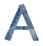 Jeans alphabet on white  letter A