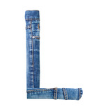 Jeans alphabet on white  letter L