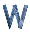 Jeans alphabet on white  letter W