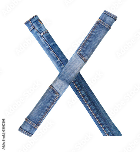 Jeans alphabet on white  letter X