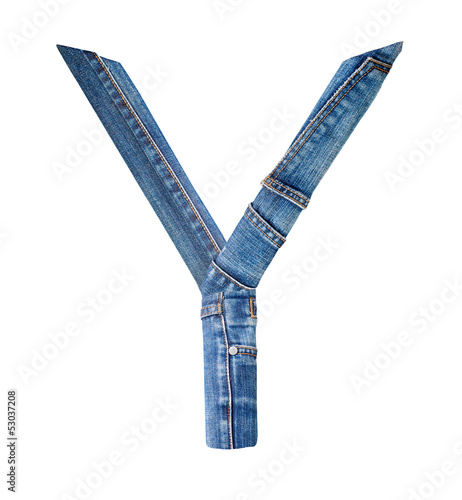 Jeans alphabet on white  letter Y