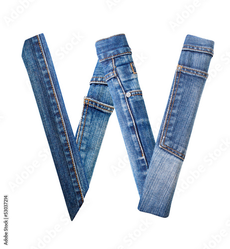 Jeans alphabet on white  letter W