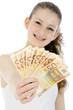 Freundlicher Teenager mit vielen Geldscheinen