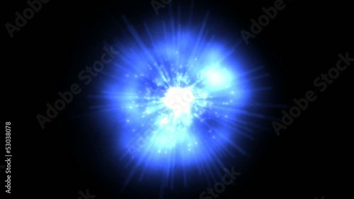 Mysterious glowing blue power ball with black screen
