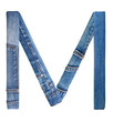 Jeans alphabet on white  letter M