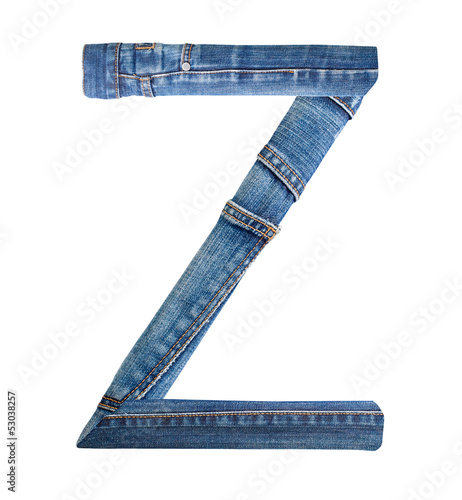 Jeans alphabet on white  letter Z