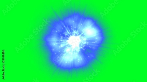 Mysterious glowing blue power ball with green screen