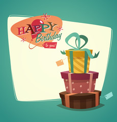 Retro vintage happy birthday card with gifts