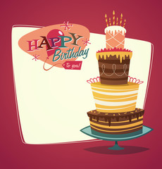 Retro vintage happy birthday card with cake